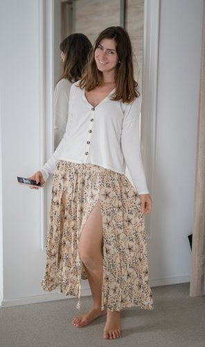 Maxi Skirt cream-oatmeal