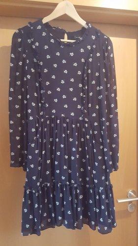Hallhuber Chiffon Dress dark blue-white