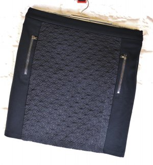 Neu Minirock Stretch Rock Esprit Größe XS 34 Schwarz Winterrock Jersey Steppstoff Materialmix