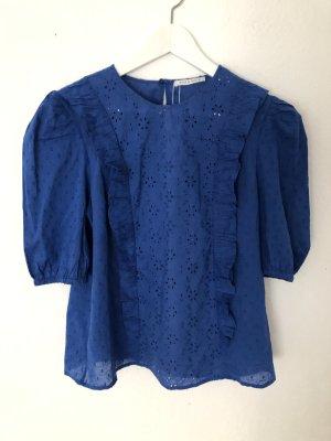 Mint&berry Bluzka z falbankami niebieski-stalowy niebieski Bawełna
