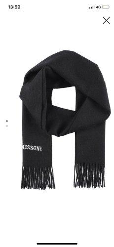 Neu Missoni Unisex Schal Damen Herren schwarz 100% Wolle mit Fransen Logo