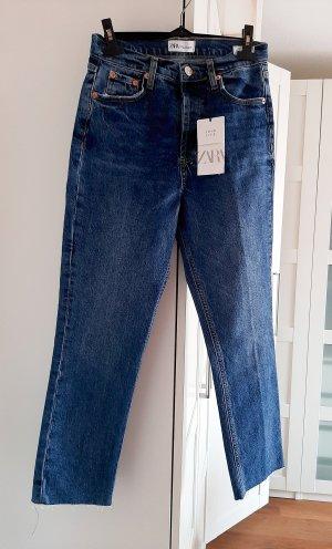 Zara Jeans taille haute bleu acier-bleu coton
