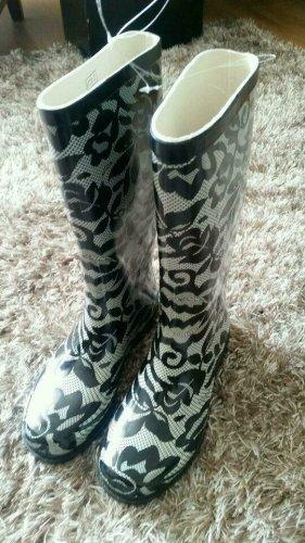 Gumowe buty czarny-biały