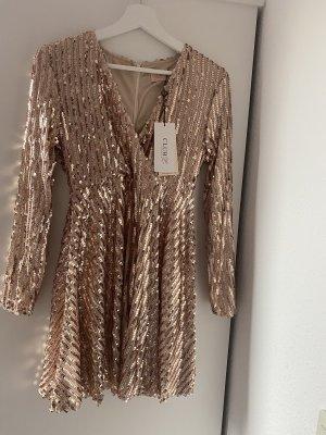 NEU mit Etikett Kleid partykleid kurz mit Pailletten Abendkleid Gold Bronze Glitzer 34
