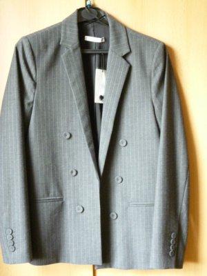 NEU mit Etikett: Mango Nadelstreifen-Blazer, Business-Look, grau-weiß, lässig, Gr. 38