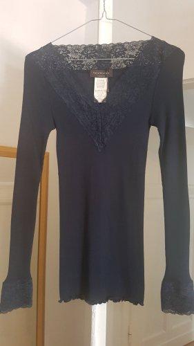 Rosemunde Top di merletto blu scuro Cotone