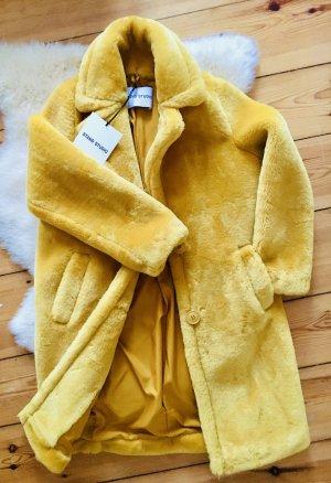 STAND STUDIO Manteau en fausse fourrure jaune tissu mixte