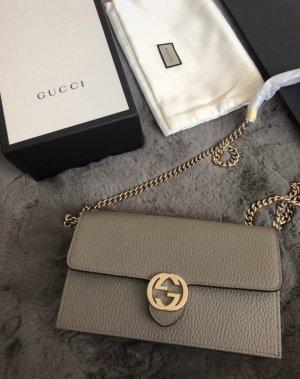 Gucci Sciarpa di seta marrone-grigio-grigio
