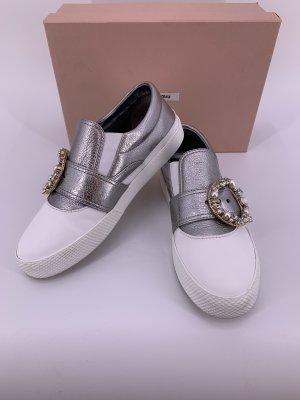 Miu Miu Wysokie trampki biały srebrny