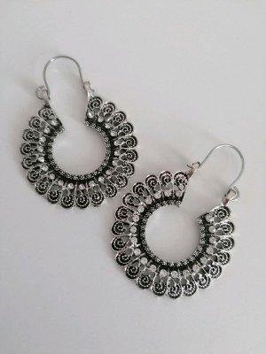Neu Modeschmuck Creolen Glitzer Elegant Silber Grau