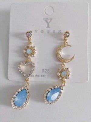 Neu Modeschmuck Gold Hell Blau Ohrringe Herz Halbmond Mondsichel