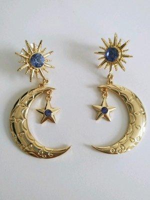 Neu Modeschmuck Ohrringe Nacht Gold Blau Vintage Used Look Mondsichel Sonne Sterne