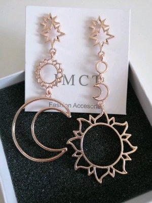 Neu Modeschmuck Schöne Handmade Vintage Used Look Ohrringe Sonne Mond Sterne Rose Gold