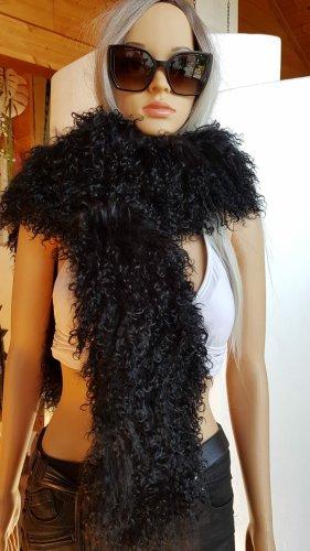 ohne Marke Écharpe en laine noir fourrure
