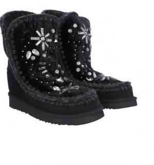 Mou Snow Boots black leather