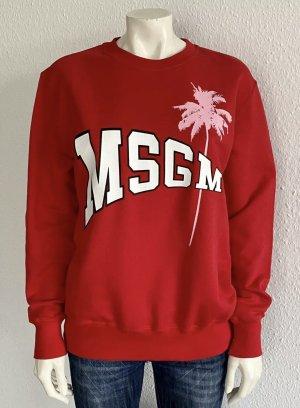 Neu MSGM Sweatshirt Gr. XS rot Logo Oversize