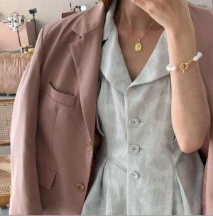 Minimal Bracelet en perles blanc-or rose