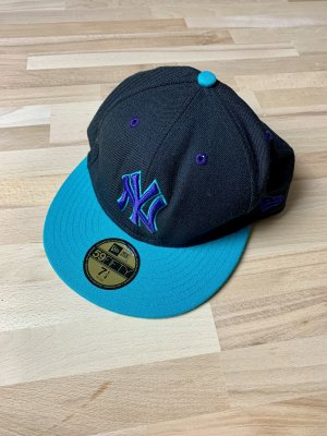 "NEU New Era Fitted Cap Yankees 7 1/4"" schwarz/türkis/lila"