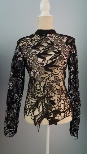 NEU NEW glamouröser SELF-PORTRAIT Black Vine Floral Guipure Lace TOP BLUSE CUT OUTs UMWERFEND!Spitzenoberteil SEHR EDEL