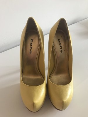 bebe High-Front Pumps yellow-brown leather