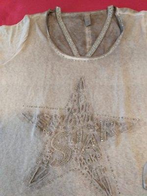 NEU, NIE GETRAGEN - TREDY Langarm T-Shirt, Sandfarben, Größe 44 - NEU, NIE GETRAGEN