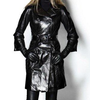 NEU NP 1320€ Echtleder Lackleder Echtleder Trenchcoat Mantel Trench Lederjacke 34 S Jacke Chanel Burberry Look