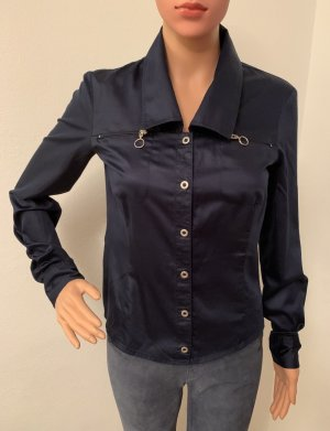 Neu NP 219€ Sportmax Hemd Shirt S Slim Fit elegante Bluse Baumwolle Satin Business Navy Blue