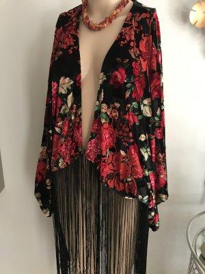 NEU NP 59,99€ Fransen Weste Cardigan Jacke Poncho Kimono Rosen Samt samtig mega Blogger 40 42 L XL