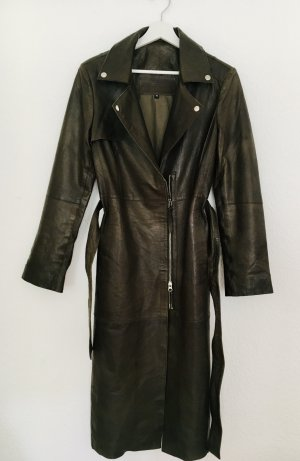 Cigno Nero Trench Coat green grey leather