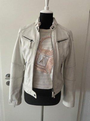Oakwood Veste en cuir blanc-argenté cuir