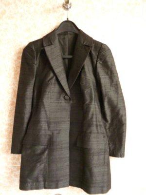 NEU ohne Etikett: Reinseiden-Blazer, Unikat, Schneiderarbeit, schwarz, Gr. 34/36