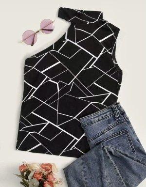 Sheinside Eénschoudershirt zwart-wit