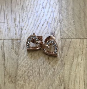 NEU Ohrringe Ohrhänger vergoldet Ohrstecker Herz Kristallen Gold