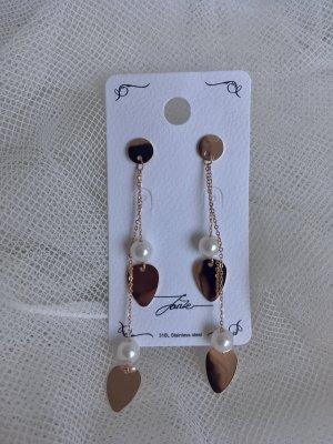 Orecchino di perle color oro rosa-crema Metallo