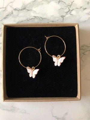 NEU Ohrringe Schmetterling Ohrstecker Creolen rosa Modeschmuck
