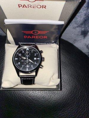 100% Fashion Horloge met lederen riempje zwart