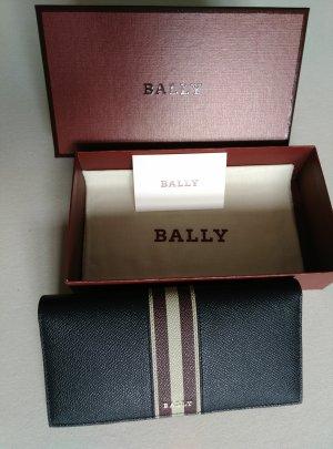 neu Original BALLY Leder Geldbeutel Geldbörse Portemonnaie Wallet dunkelblau full-set