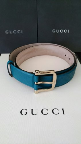 Gucci Ceinture en cuir bleu pétrole cuir