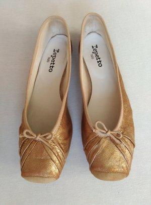 Repetto Ballerina's met kant goud Leer