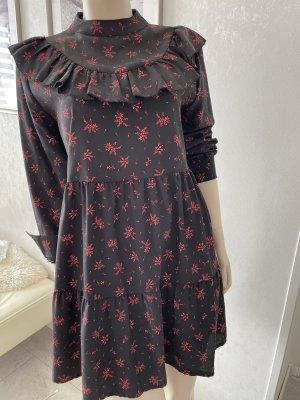0039 Italy Robe stretch noir-rouge carmin