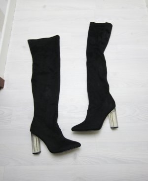 Buty nad kolano czarny-biały