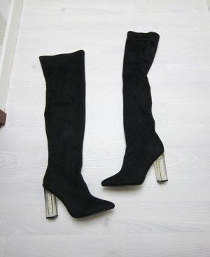 NEU Overknee Stiefel Perlen Absatz Boots 41