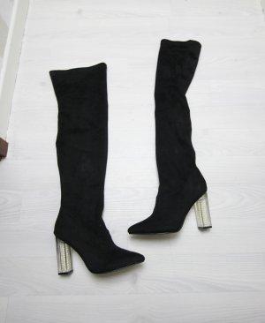 Botas sobre la rodilla negro-blanco