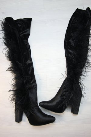 NEU Overknee Stiefel Samt Velvet Feder Details Boots Heels