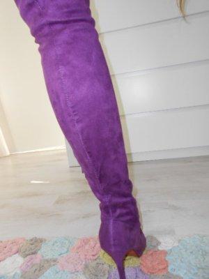 NEU OVERKNEES Schenkelhöher Stiefel Stilettos Lila Rote Sohle bequem - sehr schön!