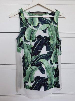 NEU! Palmen Print Bluse Top Shirt Transparent