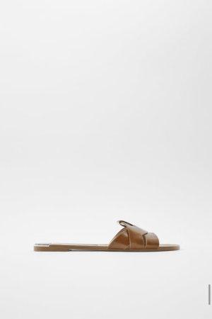 Zara Zuecos marrón Cuero