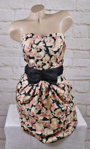 Neu Party Bustierkleid Minikleid H&M Größe S 36 Rosa Schwarz Creme Blumen Schleife Dress