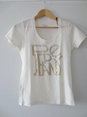 NEU, Pepe Shirt, kurzarm, beige mit Goldaufdruck, Gr. 36/ S, mit Etikett