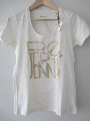 NEU, Pepe Shirt, kurzarm, beige mit Goldaufdruck, Gr. 36/S, mit Etikett